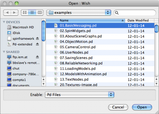 The pdsheefa examples subfolder, where the SPIN tools are stored